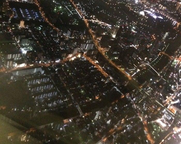 上空から見る大阪方面